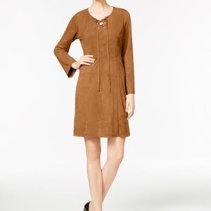 Tan Faux Suede Fit & Flare Dress